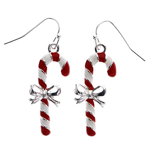 Mi Amore Christmas Candy Cane Bow Dangle-Earrings Red & White from Mi Amore