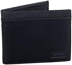 Wallet man GIANMARCO VENTURI blue of leather with coin purse and flap A5708