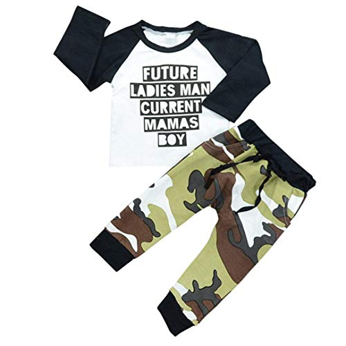 Dinlong Set 2PCS Toddler Kids Baby Boys Girls Outfits Clothes Long Sleeve with Future Ladies Man Current Mama's BOY Letter Print T-Shirt Tops + Camouflage Cargo Pants (Camouflage, 3-4 Year) -