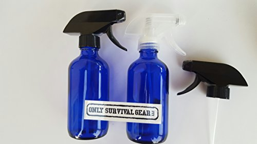 Spray Butterfly Bottle (8oz blue Cobalt color Glass Boston Round Spray Bottles (2 Pack); w/ EXTRA Heavy Duty Mist & Stream Sprayers Perfect for Essential Oil Blends - From Only Survival Gear LLC)