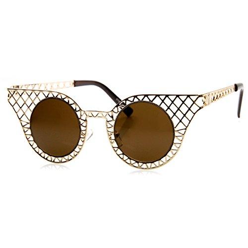 zeroUV - High Fashion Metal Criss Cross Cut Out Cat Eye Sunglasses (Gold (Criss Cross Cat)