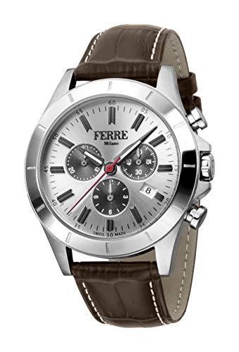 Ferre Milano Swiss Made Men's FM1G110L0011 Swiss Quartz Brown Leather Strap Watch ()