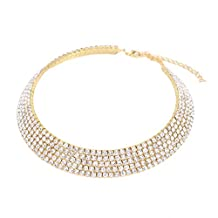 Stuffwholesale Crystal Rhinestone Choker Necklace Double Rows Cup Chain Women Jewelry