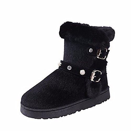 Zhudj Cn40 Chaussures Bottes Black Femmes black 5 5 Uk6 Pour Perle us8 Eu39 Gris D'hiver Rond Neige Bout Les qrCUqHxg