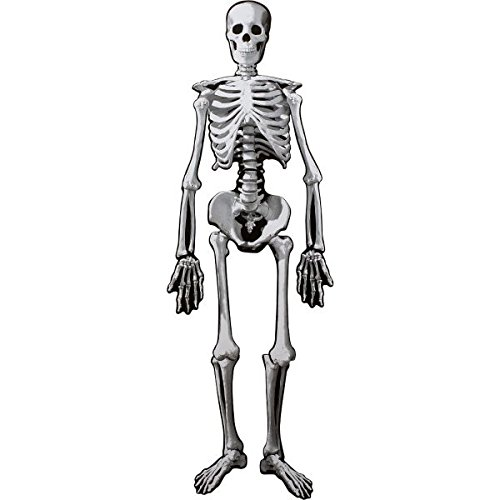 Amscan Eerie Boneyard Halloween Party Jointed Skeleton Cutout Decoration, Cardboard, 53''