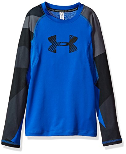 Heatgear Boys Shirt - Under Armour Boys' HeatGear Armour Printed Long Sleeve,Ultra Blue (907)/Black, Youth Small
