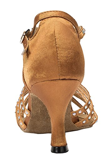 L065 Shoes Latin Tango 3 YYC Satin Ballroom Dance CFP Heel Inch Professional Brown Womens tx7fqnB