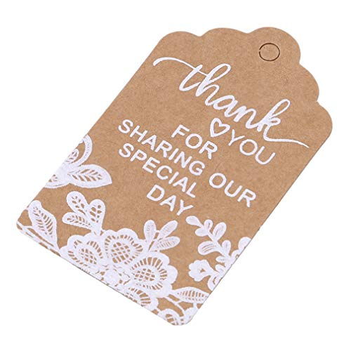 Iumer 50 Pcs Kraft Tag Card String Thank You Printing Invitation Gift Wedding Tags,White lace Thank You