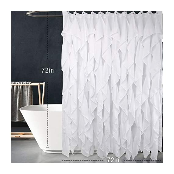 Volens White Ruffle Shower Curtain Farmhouse Fabric Cloth Shower Curtains for Bathroom, 72x72 in Long - WHITE SHOWER CURTAIN ❤️ Keep Privacy: No see through to provide a relax and private space, have your own space when you take a bath to enjoy yourself. The waterfall texture perfect to decor your farmhouse theme bathroom. FABRIC SHOWER CURTAIN ❤️ Quality Material: Made by 100% polyester to ensure quick dry and durability. Lightweight, soft touch and detailed workmanship, long service life. LONG SHOWER CURTAIN ❤️ Large Enough: It measures W71 x L71 inch, easy to fit most of bathrooms and tubs. Full coverage to spread around and prevent water from splashing onto the floor. - shower-curtains, bathroom-linens, bathroom - 41ij595SzQL. SS570  -