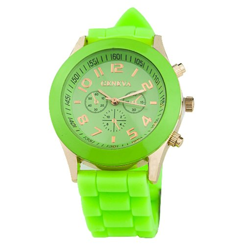 Unisex Silicone Sports Quartz Watches Green - 2