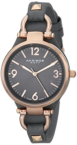 Akribos XXIV Women's AK761GY Swiss Quartz Movement Watch with Dark Gray Engraved Sunburst Dial and Calfskin Leather Strap