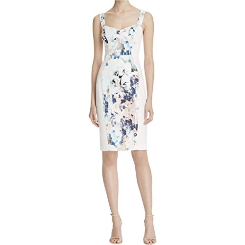 Black Halo Women's Sadie Abstract Floral Print Dress in Divine Wind White (6)