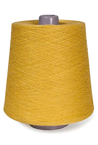 (Linen Yarn Cone - 100% Flax Linen - 1 LBS - Sulfuric Yellow Color - 3 PLY - Sewing Weaving Crochet Embroidery - 3.000 Yard)