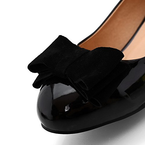 AmoonyFashion Womens Round-Toe Closed-Toe Low-Heels Pump-Shoes With Curves Style and Hand-Made Black fEoaZbs