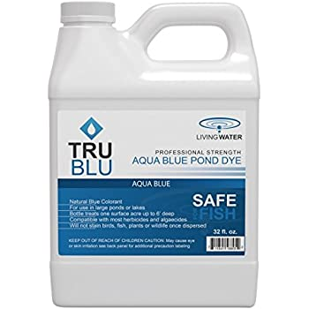 Living Water TruBlu Concentrated Pond Dye, Aqua Blue (1qt) - Concentrated Colorant Shades Water for Temperature and Algae Control - Non-Toxic, Safe for Swimming and Wildlife - Professional Strength