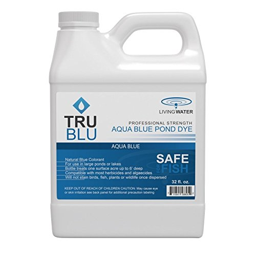 (Living Water TruBlu Concentrated Pond Dye, Aqua Blue (1qt) - Concentrated Colorant Shades Water for Temperature and Algae Control - Non-Toxic, Safe for Swimming and Wildlife - Professional Strength)