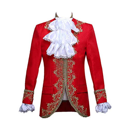ROLECOS Mens Prince Charming Costume Royal Tuxedo Luxury Dress Blazer Pants Red S -