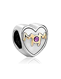 Mom Mother Charms Clear White Crystal Heart Love Beads For Bracelet