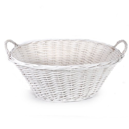 The Lucky Clover Trading Classic White Laundry & Utility, Oval Basket,