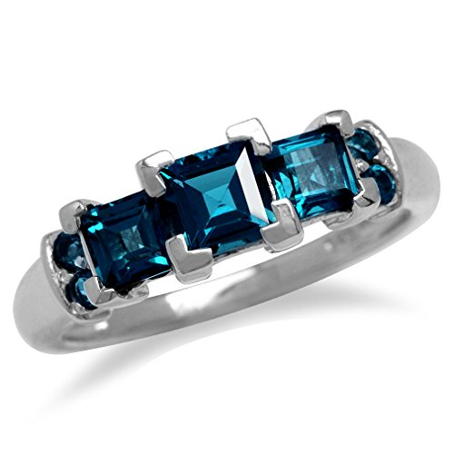 1.76ct. 3-Stone Genuine Square Shape London Blue Topaz White Gold Plated 925 Sterling Silver Ring Size 7 (Shape Mothers Stones Ring)