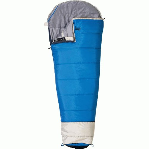 Slumberjack Go-N-Grow +30 degree Synthetic Sleeping Bag, Blue, Junior – Right Zipper, Outdoor Stuffs