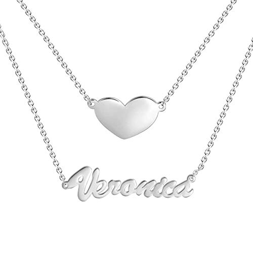 Personalized Name Necklace Custom Two Layer Nameplate Heart Pendant Necklace Engraved Any Name for Mother Friendship Bridesmaid Woman Christmas Gift (18K White Gold Plated ()