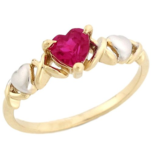 10k Two-Tone Gold Heart Shaped Simulated Ruby July Birthstone Ring ()