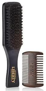 Beard Brush, Boar Bristle Beard Brush and Comb Set, Beard and Mustache Grooming Kit, Hair by Liberty Grooming
