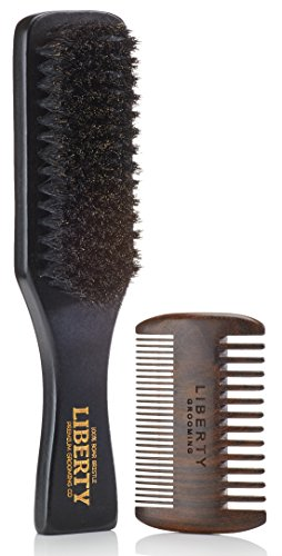 Beard Brush, Boar Bristle Beard Brush and Comb Set, Beard and Mustache Grooming Kit, Hair by Liberty Grooming