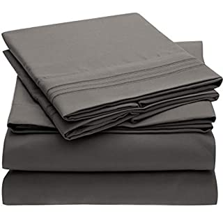 Mellanni Bed Sheet Set - Brushed Microfiber 1800 Bedding - Wrinkle, Fade, Stain Resistant - Hypoallergenic - 4 Piece (Queen, Gray) (B00NLLUP4G) | Amazon price tracker / tracking, Amazon price history charts, Amazon price watches, Amazon price drop alerts