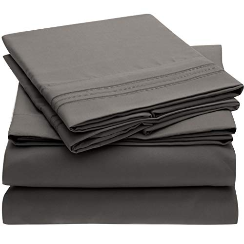 Mellanni Bed Sheet Set - Brushed Microfiber 1800 Bedding - Wrinkle, Fade, Stain Resistant - Hypoallergenic - 4 Piece (King, Gray) - Striped Wrap Around Wrap