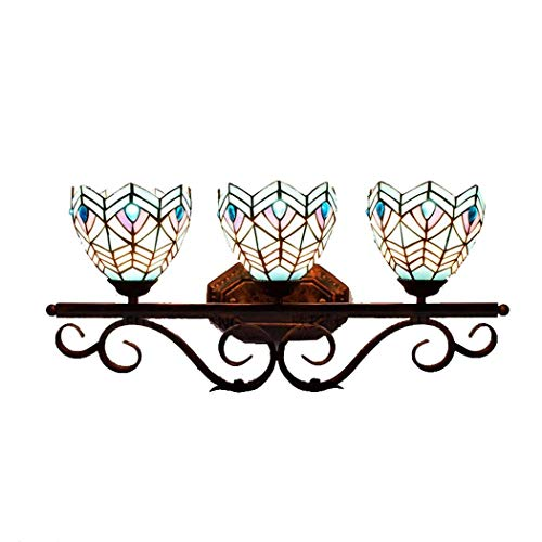 - 3-Lights Tiffany Style Wall Lamp, Mediterranean Vintage Blue Glass/Phoenix Design Wall Lights, European Creative Wrought Iron Wall Sconces Mirror Headlight