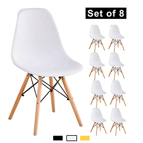YEEFY Dining Chairs Eames-Style Side Chair Wooden Legs Chairs, Set of 8(White)