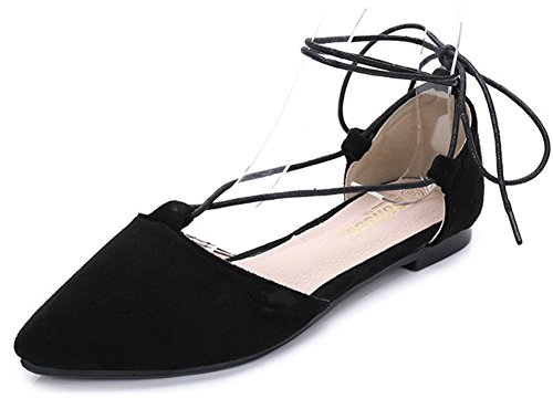 Aisun Women's Trendy Faux Suede Pointed Toe Cut out Self Tie Flats Sandals Black VzGS0o6vXN
