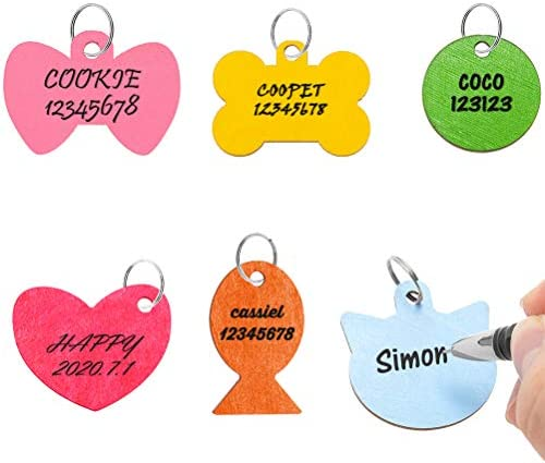 SCENEREAL Pet ID Tag Personalized – 6 Pack Wooden Handwriting ID Tags Engraved Tags for Dogs Cats Collar Accessories – 6 Colors and 6 Shapes