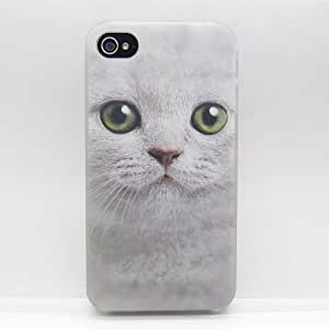 TONYYAN Unique DIY Big Green Eyes Cat Face Cases,Snap-on Hard Back Case Cover for Apple iPhone 4 4g 4s 4th