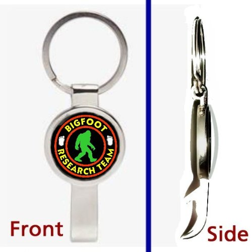 Sasquatch Yeti Bigfoot Research Team Pennant or Keychain Silver Tone Secret Bottle Opener