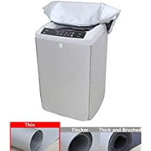 [Mr.You]Washing machine cover Waterproof For Top Load Washer/Dryer Protection Sunscreen dust-proof Silver Velcro (S,Thin)