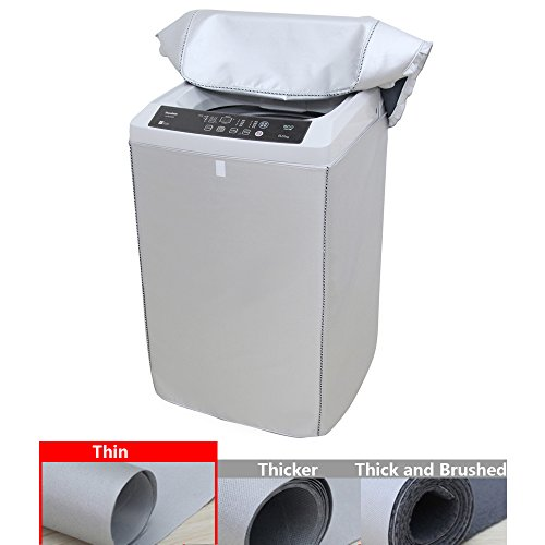 [Mr.You]Top-Loading Washer/Dryer Cover Waterproof Washing Machine Dustproof Velcro Silver(XL, Thin)