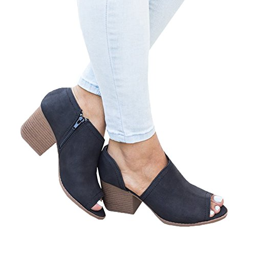 FISACE Women Slip On Fashion Vegan Suede Cut Out Peep Toe Chunky Block Stacked Low Heel Ankle Booties