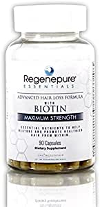 Regenepure Essentials Hair Loss Supplement - Vitamins for Hair Loss with Biotin for Hair Growth– 90 Capsules