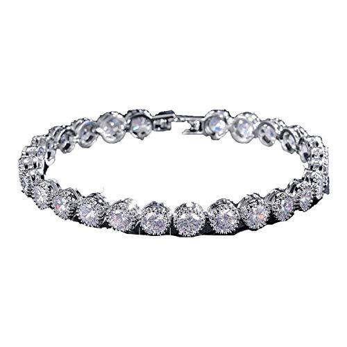dding Bracelet & Bangles Hip Hop Jewelry Cut 5.0 mm Tennis Bracelets for Women/Men Party,Silver Color 19cm ()