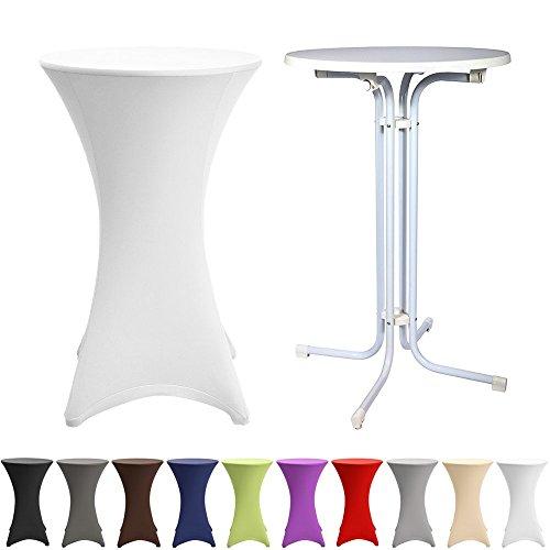 Beautissu® Stehtisch Ø80cm mit Stretch-Husse als KOMPLETT-SET: Bistro-Tisch klappbar Weiß + bügelfreie Husse Weiß