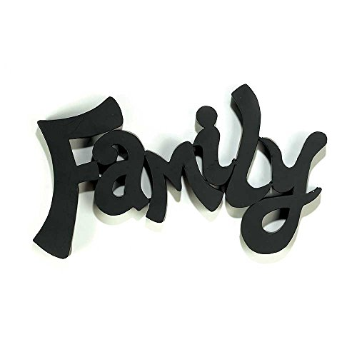 Family Inspirational Word Black 9 x 14 Metal Dimensional Wall Sign Plaque (Family Metal Plaque)