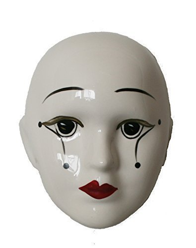 Porcelain Mask Pierrot , White Color with Tear Drops, Size: 4.5