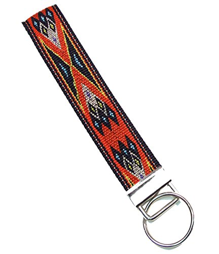 Legacystraps Wristlet Key Fob Key Chain Collection Volume 1 jacquard woven with Red Indian Pattern