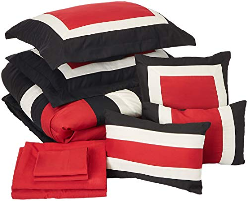 Chic Home Duke 10 Pieced Color Block Bed in A Bag Comforter Sheet Set, Queen, Red