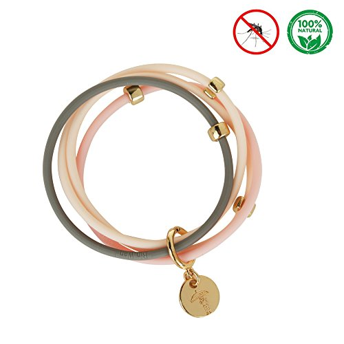 100% Natural Mosquito Repellent Bracelet/Band All Natural Essential Oil based Deet Free to Keep Insects and Bugs Away Maximum Protection and Style With a Sweet Atmosphere Smell.(Pink)