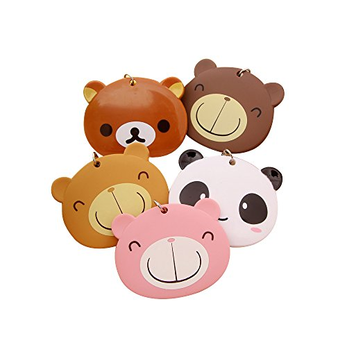 Zhi Jin Cute Animal Bus Subway Card Holder Key Ring Bear Credit Card Sleeves Protectors Case Organizer Girls Gift Random Type,Pack of ()