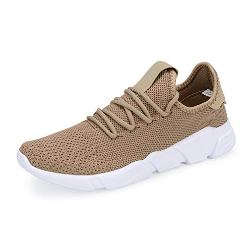 (A-PIE Men's Running Athletic Shoes Breathable Lightweight Fashion Sneakers Casual Walking Shoes Khaki 43)